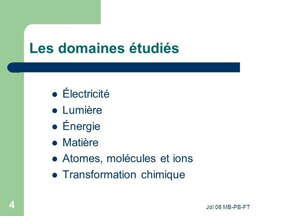 Les domaines étudiés Électricité Lumière Énergie Matière