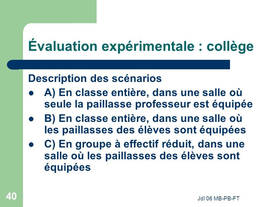 Évaluation expérimentale : collège