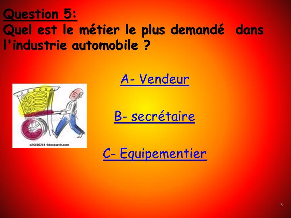 Question 5: Quel est le métier le plus demandé dans l industrie automobile