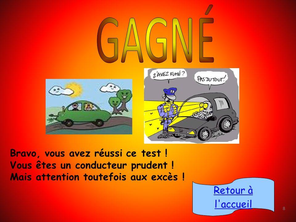 Bravo, vous avez réussi ce test ! Vous êtes un conducteur prudent !