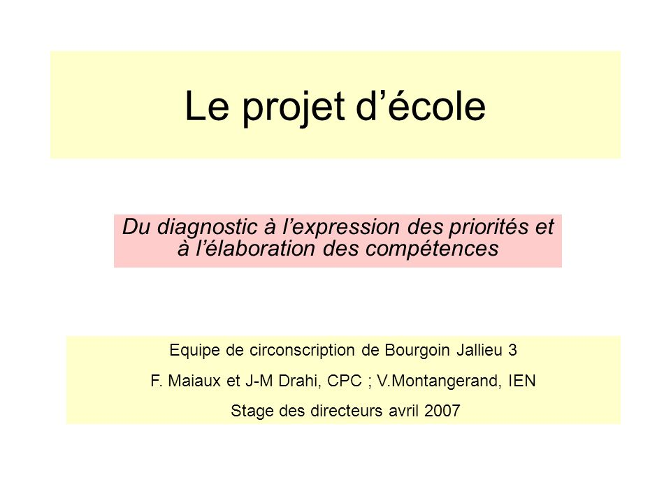 Le projet d'écoleDu diagnostic à l'expression des priorités et à l'élaboration des compétences. Equipe de circonscription de Bourgoin Jallieu 3.