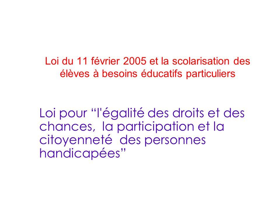 Loi du 11 février 2005 et la scolarisation des élèves à besoins éducatifs particuliers