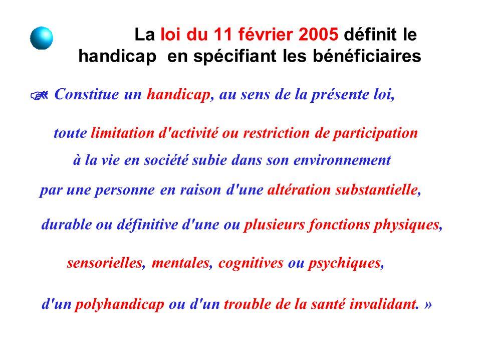 La loi du 11 février 2005 définit le handicap en spécifiant les bénéficiaires