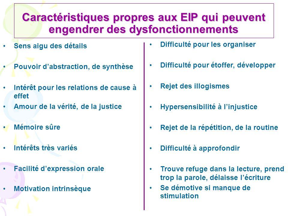 Caractéristiques propres aux EIP qui peuvent engendrer des dysfonctionnements