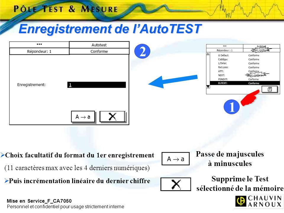  2 1 Enregistrement de l'AutoTEST Passe de majuscules à minuscules