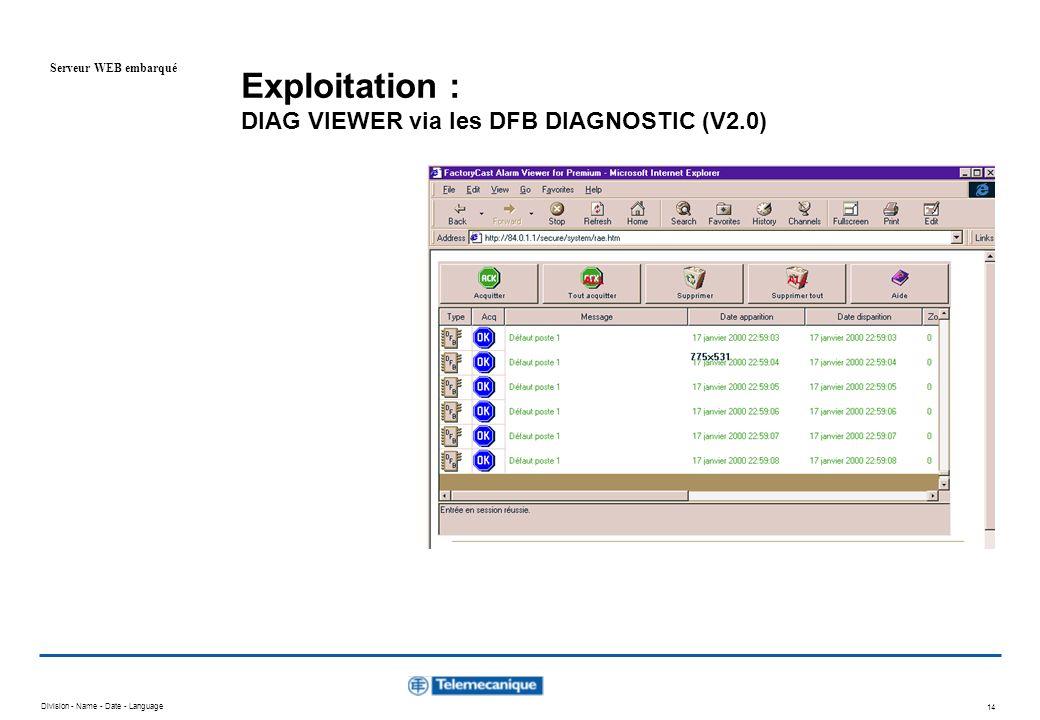Exploitation : DIAG VIEWER via les DFB DIAGNOSTIC (V2.0)