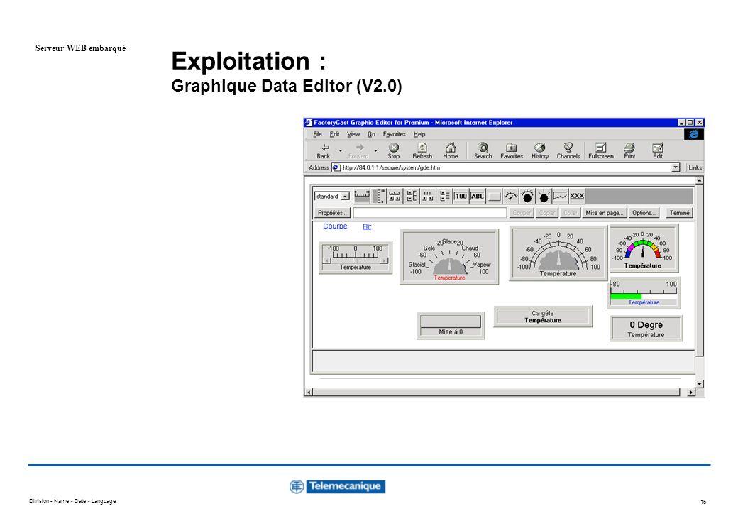 Exploitation : Graphique Data Editor (V2.0)