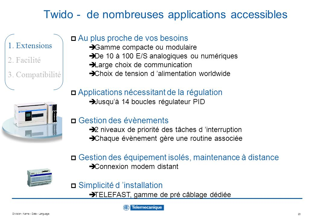 Twido - de nombreuses applications accessibles