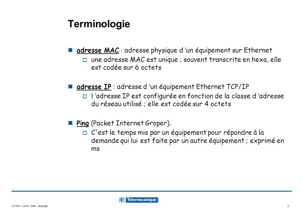 Terminologie adresse MAC : adresse physique d 'un équipement sur Ethernet.