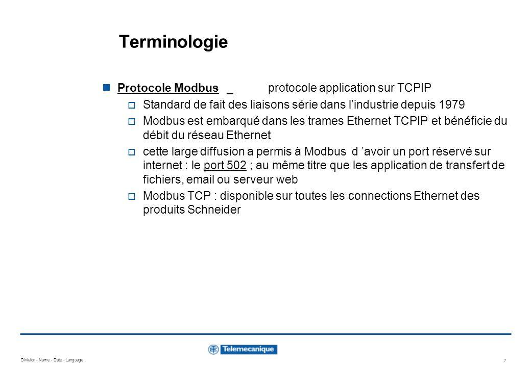 Terminologie Protocole Modbus _ protocole application sur TCPIP
