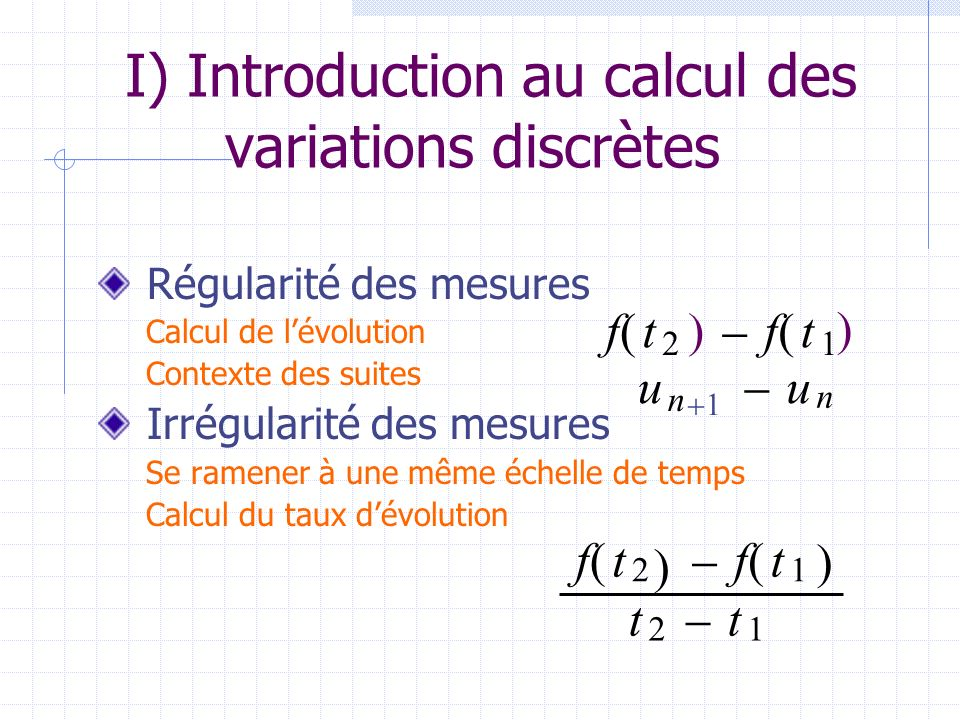 I) Introduction au calcul des variations discrètes