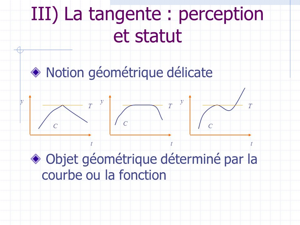 III) La tangente : perception et statut