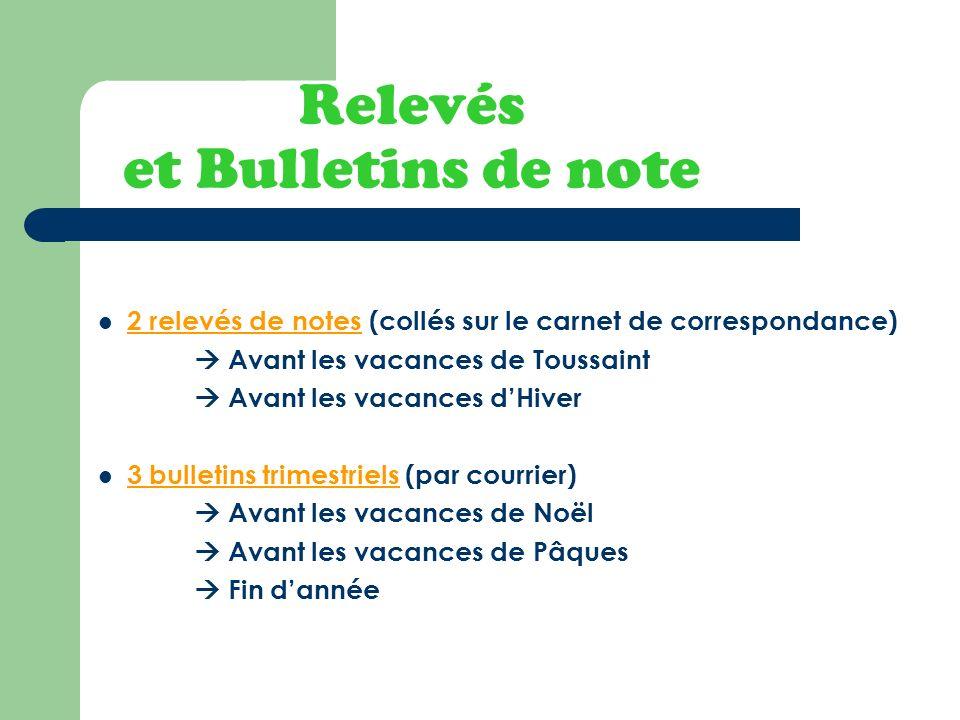Relevés et Bulletins de note