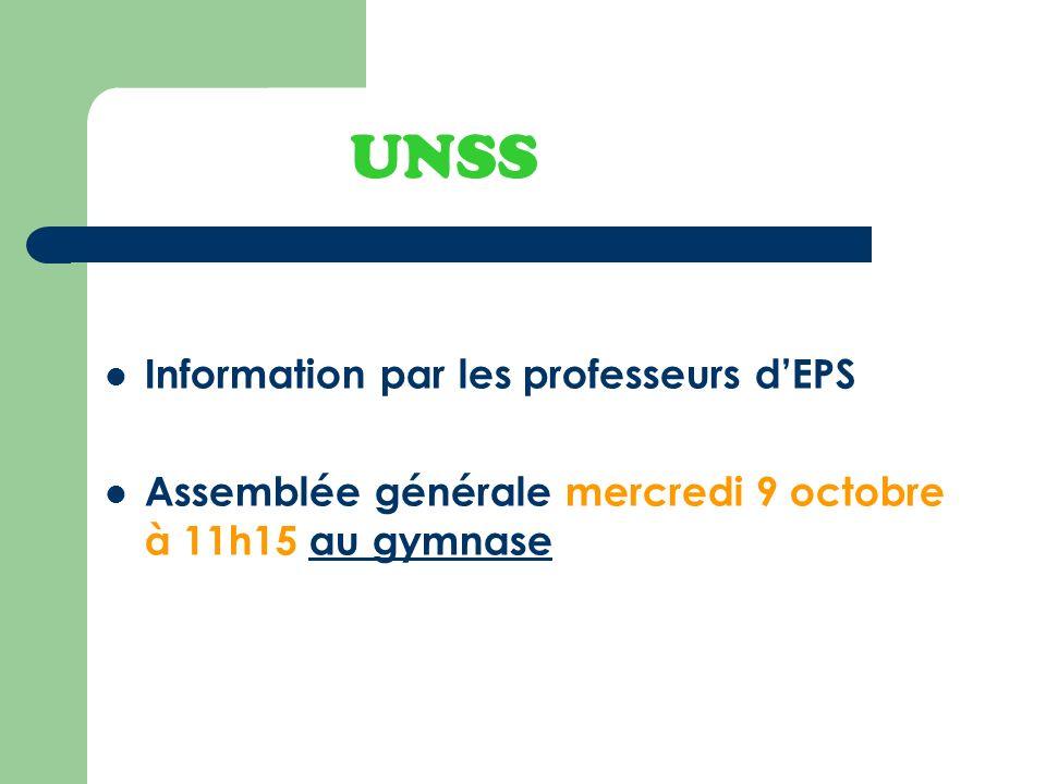 UNSS Information par les professeurs d'EPS