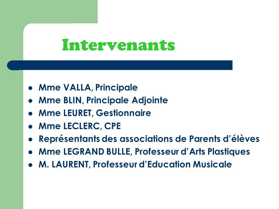 Intervenants Mme VALLA, Principale Mme BLIN, Principale Adjointe