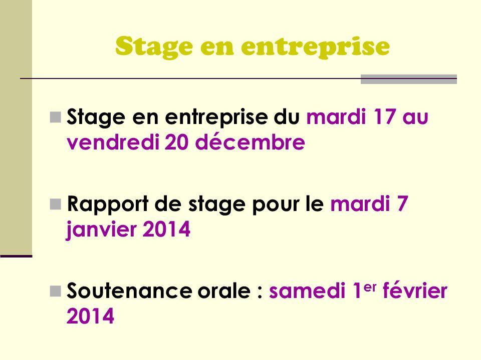 Stage en entreprise Stage en entreprise du mardi 17 au vendredi 20 décembre. Rapport de stage pour le mardi 7 janvier 2014.