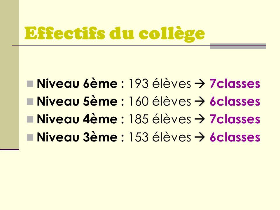Effectifs du collège Niveau 6ème : 193 élèves  7classes