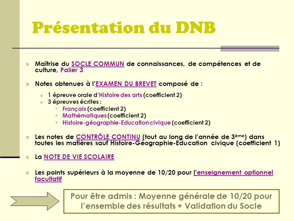 Présentation du DNBMaîtrise du SOCLE COMMUN de connaissances, de compétences et de culture, Palier 3.