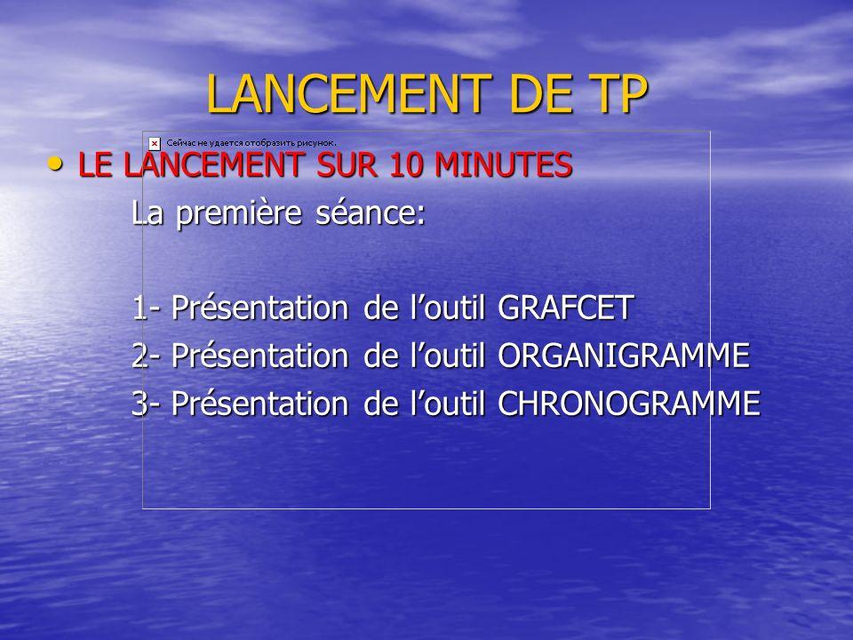 LANCEMENT DE TP LE LANCEMENT SUR 10 MINUTES La première séance: