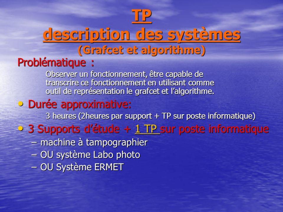 TP description des systèmes (Grafcet et algorithme)