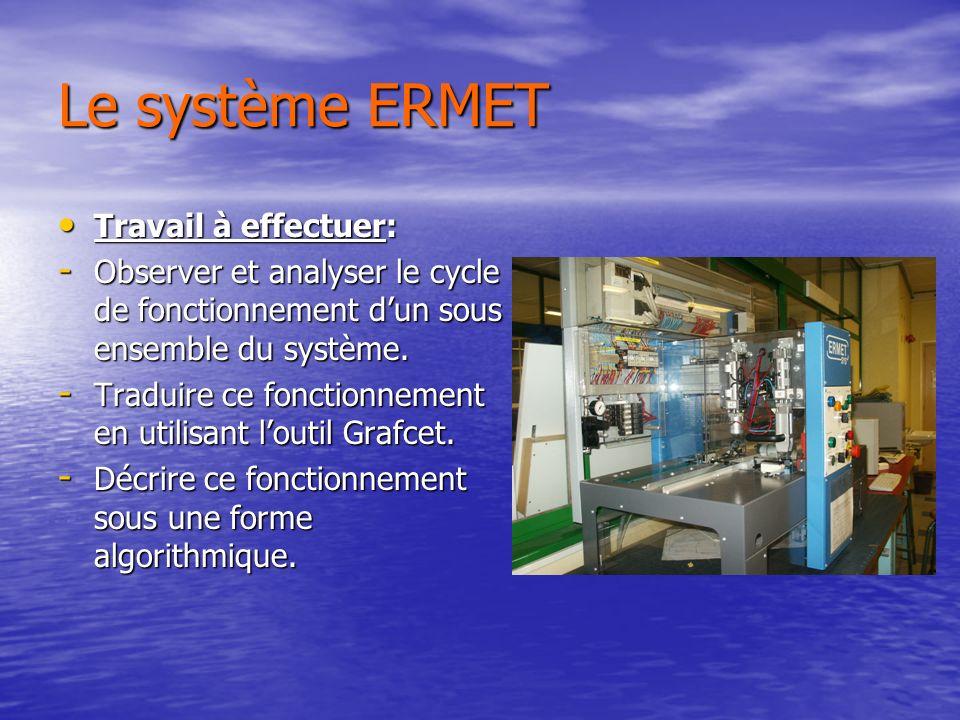 Le système ERMET Travail à effectuer: