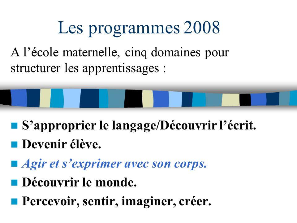 Les programmes 2008 A l'école maternelle, cinq domaines pour structurer les apprentissages : S'approprier le langage/Découvrir l'écrit.