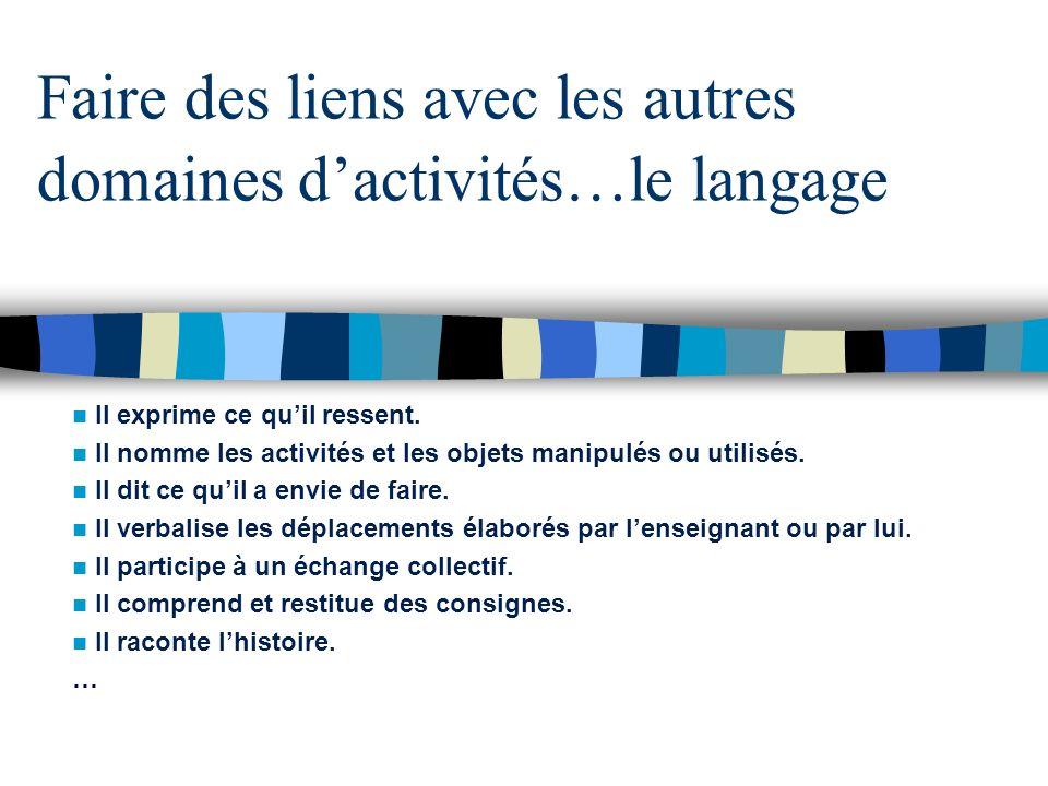 Faire des liens avec les autres domaines d'activités…le langage