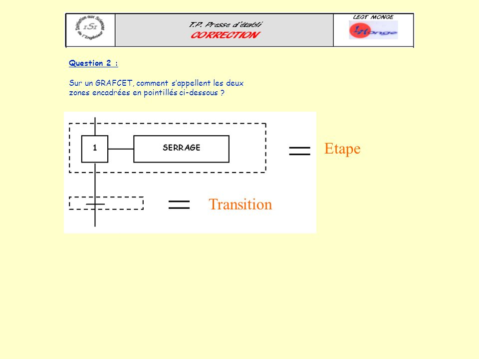 Etape Transition Question 2 :