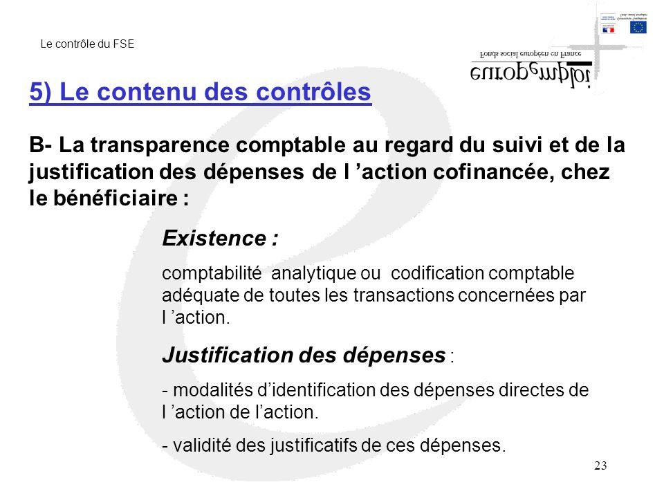 5) Le contenu des contrôles