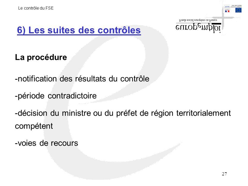 6) Les suites des contrôles