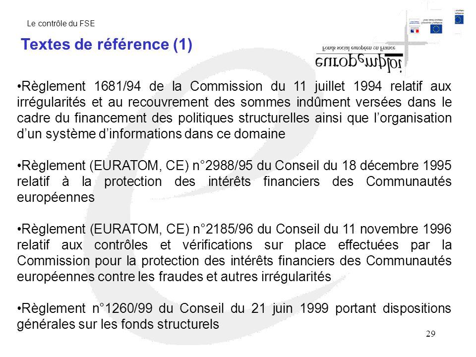 Le contrôle du FSE Textes de référence (1)