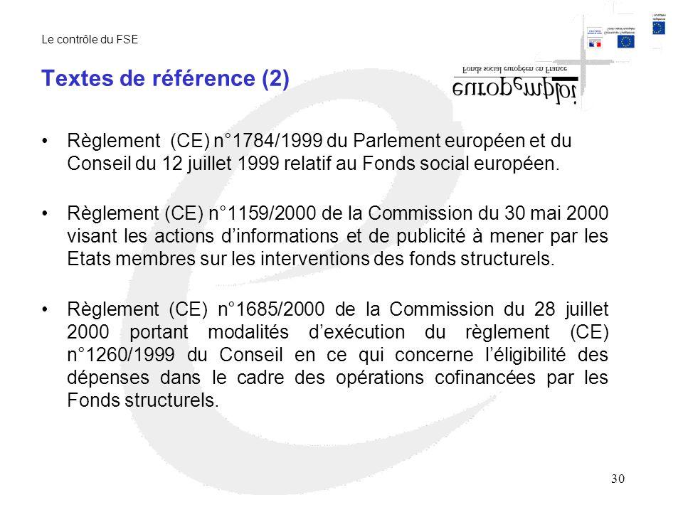 Le contrôle du FSE Textes de référence (2)