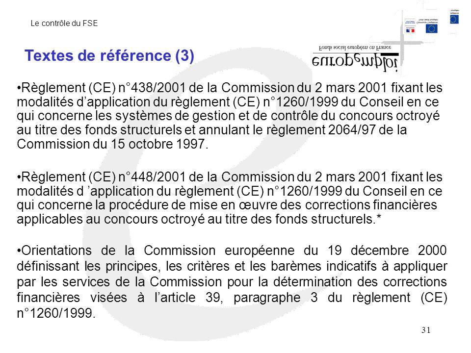 Le contrôle du FSE Textes de référence (3)