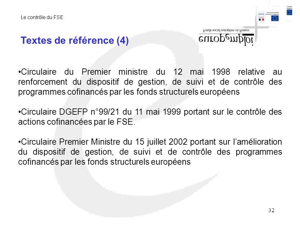 Le contrôle du FSE Textes de référence (4)