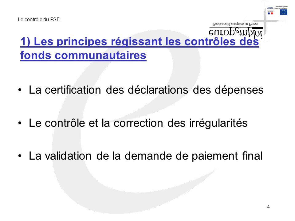 1) Les principes régissant les contrôles des fonds communautaires