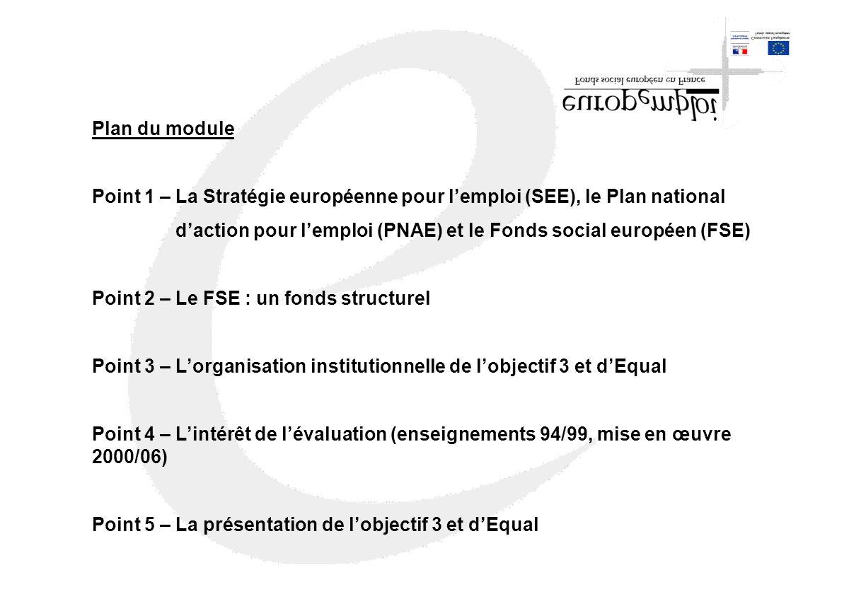 Plan du module Point 1 – La Stratégie européenne pour l'emploi (SEE), le Plan national.