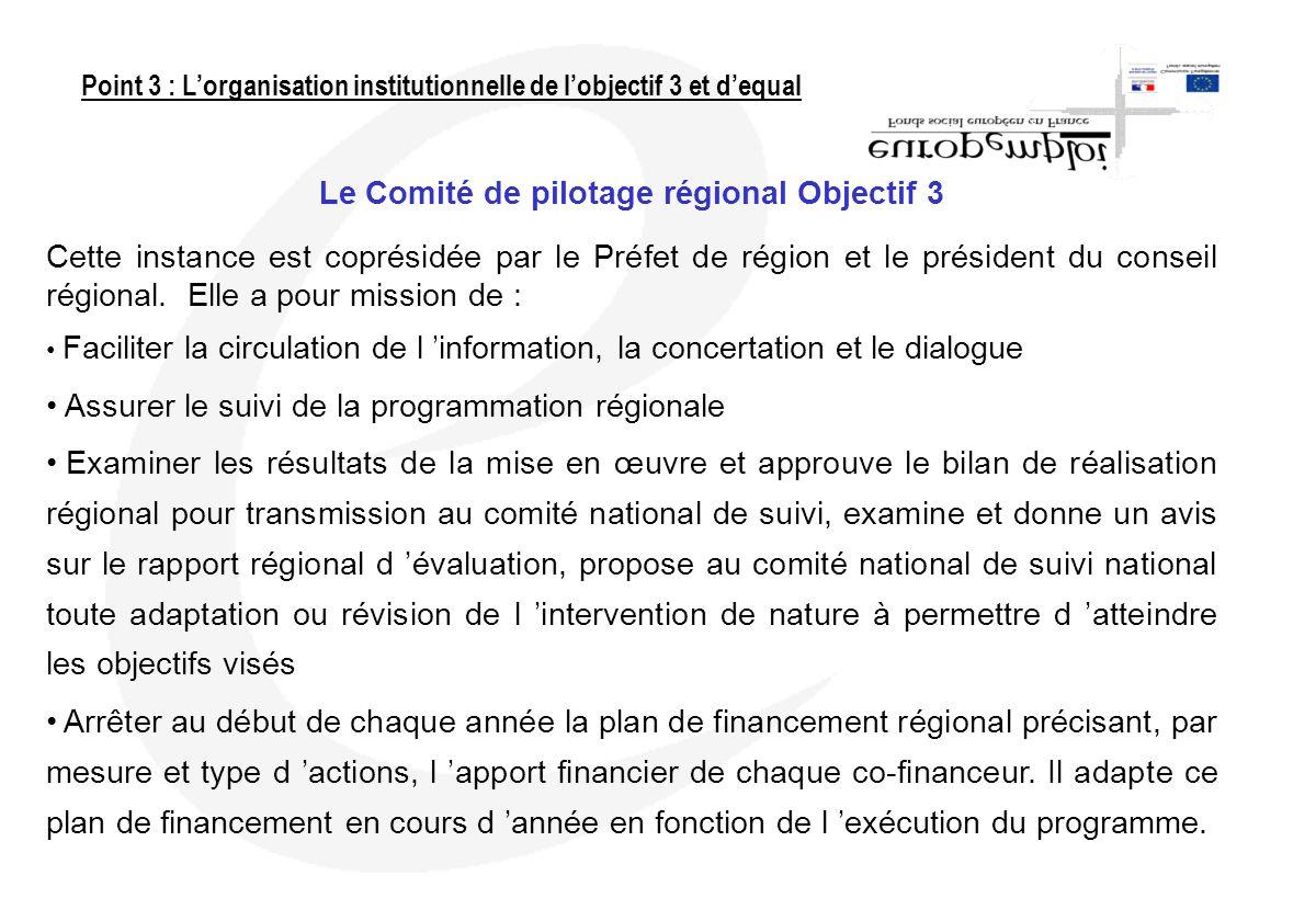 Le Comité de pilotage régional Objectif 3