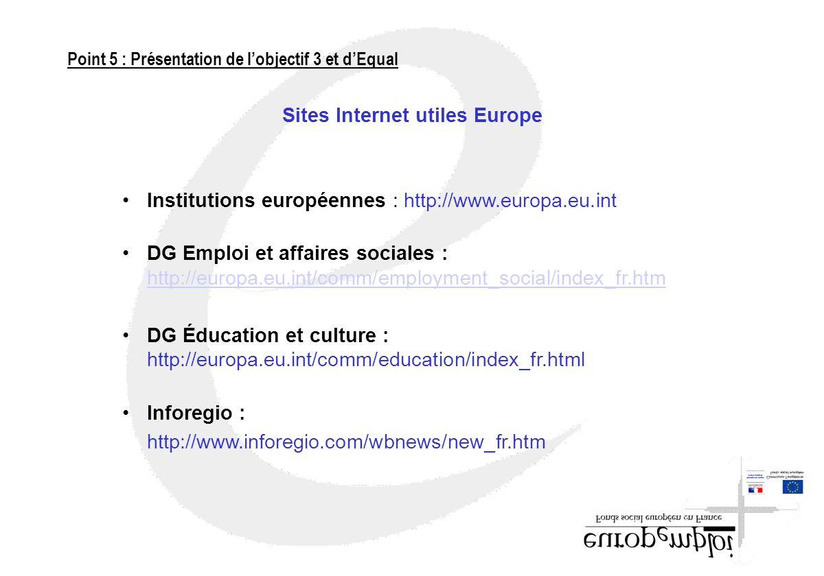 Sites Internet utiles Europe