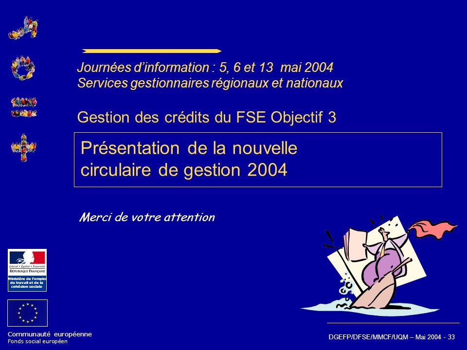 Gestion des crédits du FSE Objectif 3