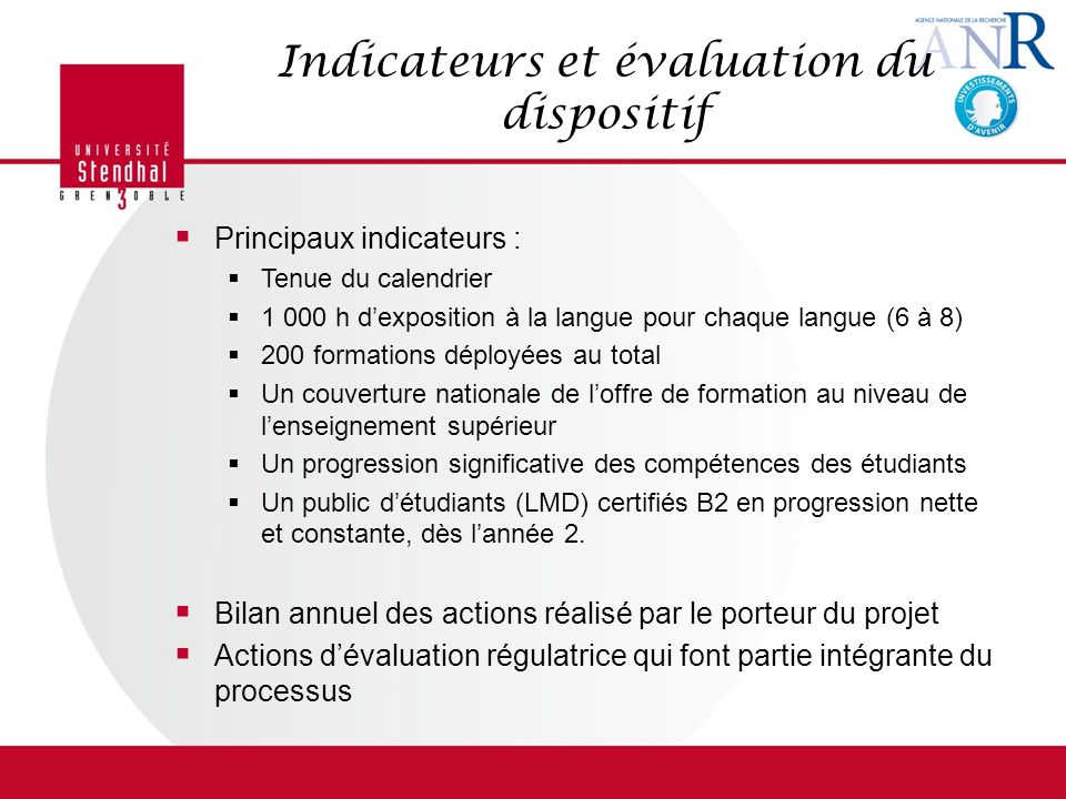 Indicateurs et évaluation du dispositif