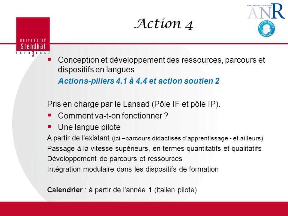 Action 4 Conception et développement des ressources, parcours et dispositifs en langues. Actions-piliers 4.1 à 4.4 et action soutien 2.