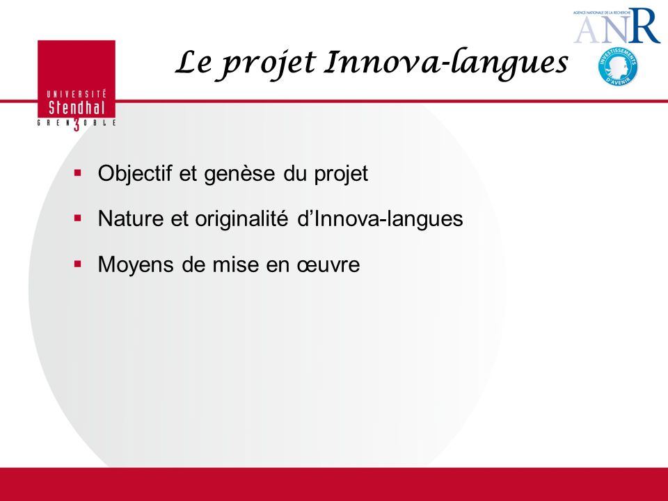 Le projet Innova-langues