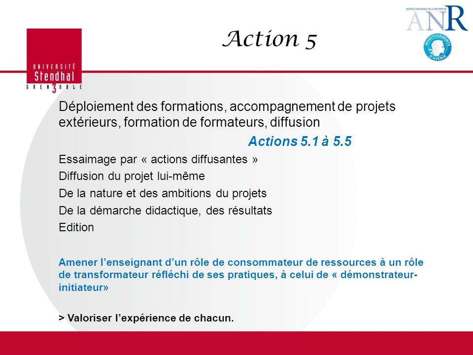 Action 5 Déploiement des formations, accompagnement de projets extérieurs, formation de formateurs, diffusion.
