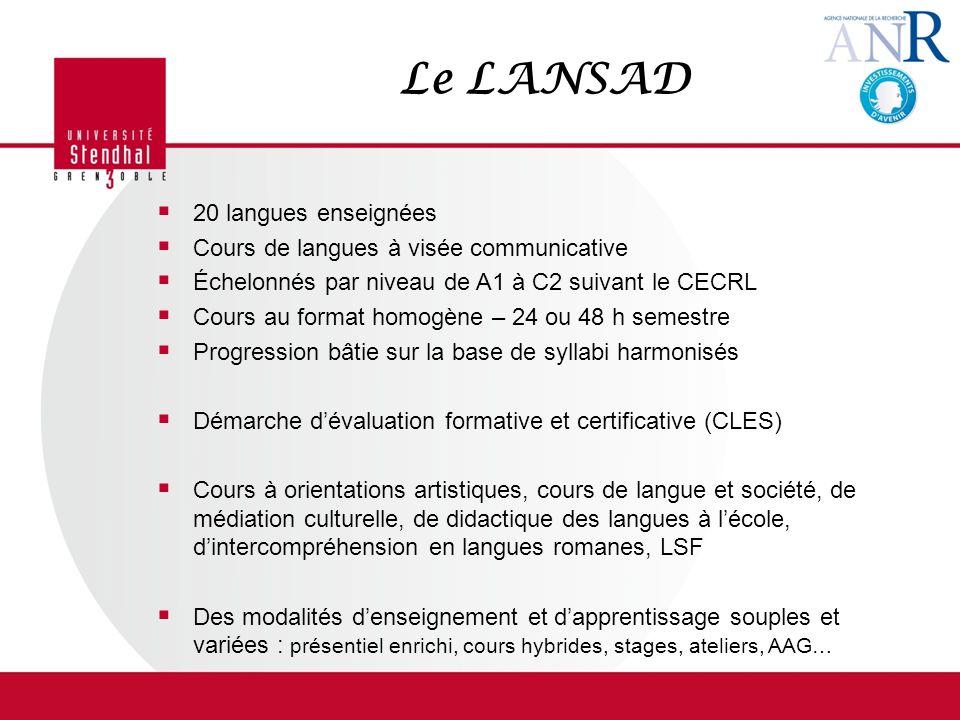 Le LANSAD 20 langues enseignées Cours de langues à visée communicative