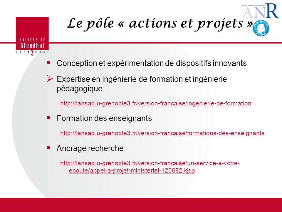 Le pôle « actions et projets »
