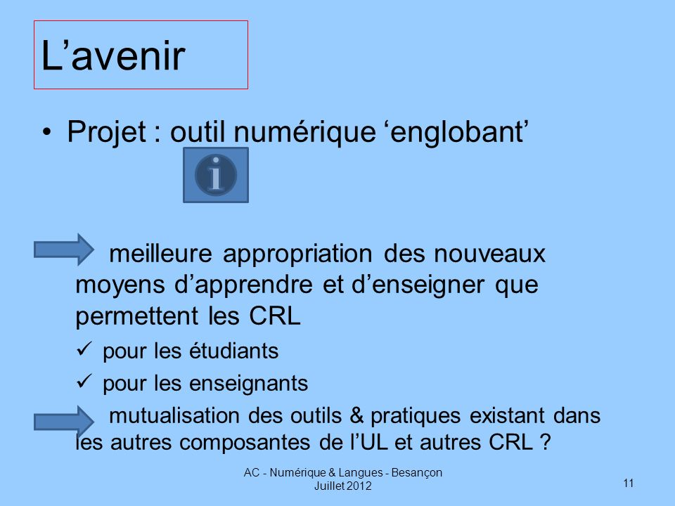 AC - Numérique & Langues - Besançon Juillet 2012