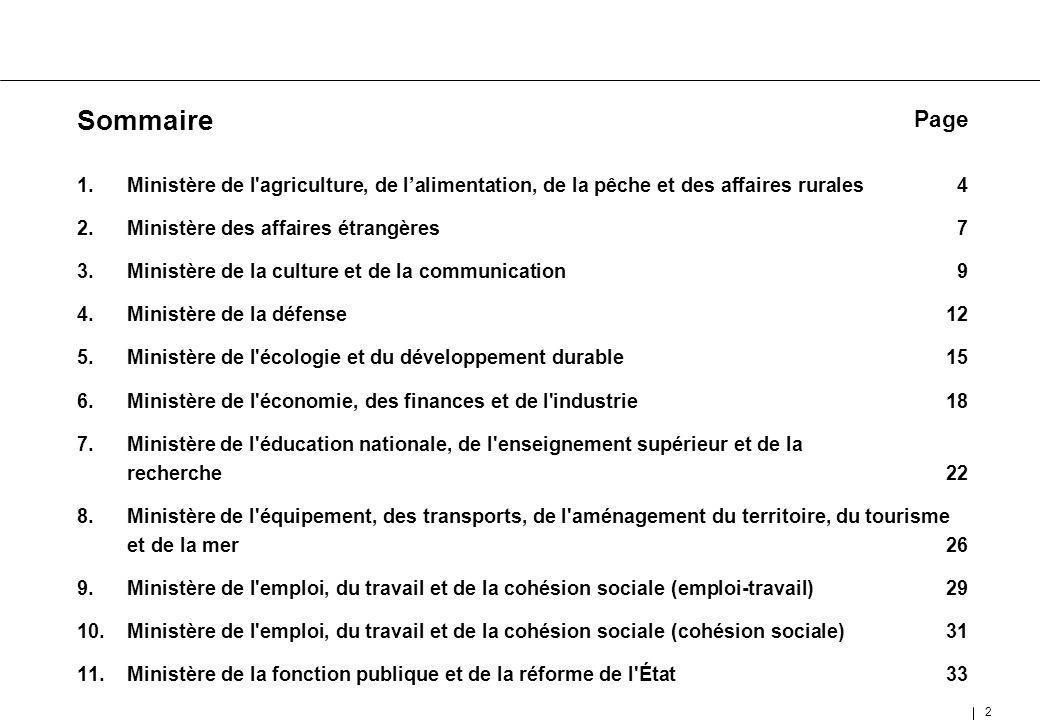 Sommaire Page. Ministère de l agriculture, de l'alimentation, de la pêche et des affaires rurales 4.