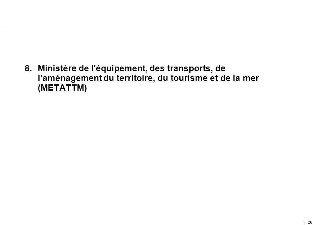 8. Ministère de l équipement, des transports, de l aménagement du territoire, du tourisme et de la mer (METATTM)