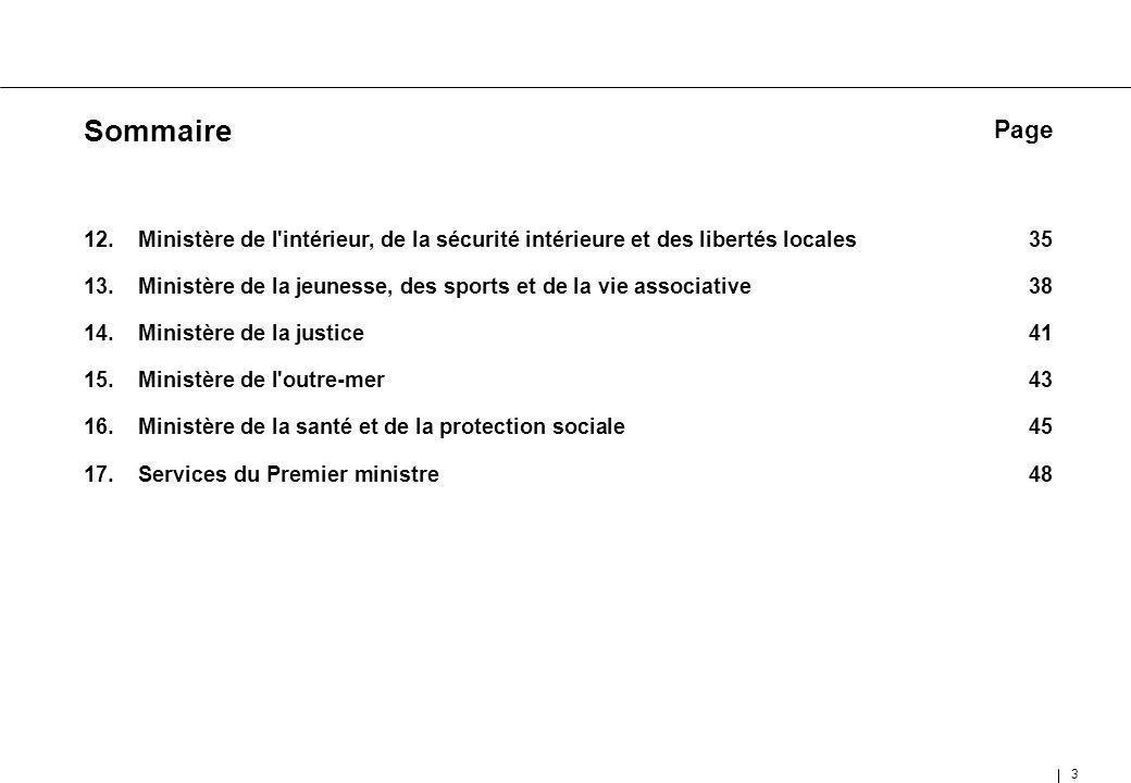 Sommaire Page. Ministère de l intérieur, de la sécurité intérieure et des libertés locales 35.