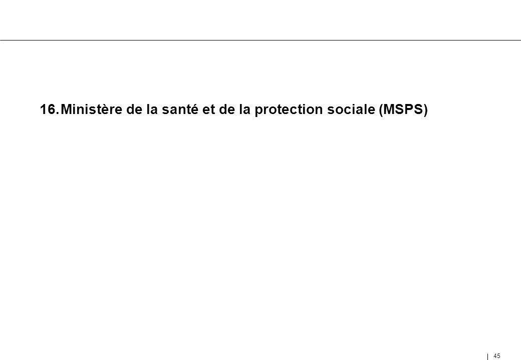 16. Ministère de la santé et de la protection sociale (MSPS)